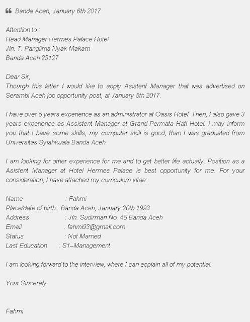 Surat Lamaran Kerja Bahasa Inggris Hotel