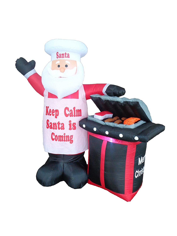 Holiday Yard Dishplay. Grilling Santa Inflatable
