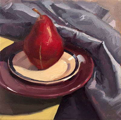 art oil painting still life red pear by sarah sedwick