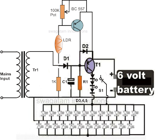 LED LDR Emergency Light Circuit