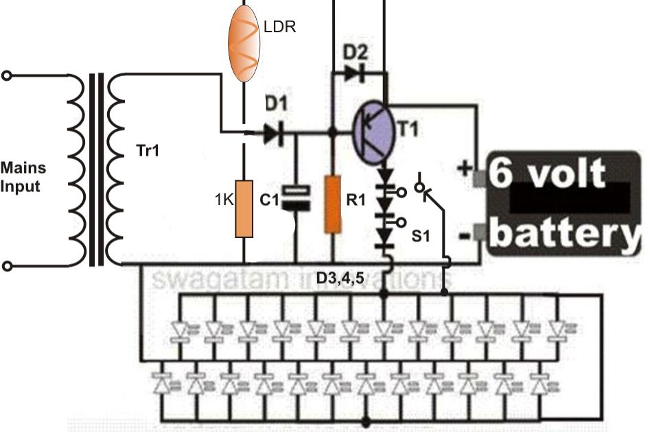 Efficient Automatic White LED Emergency Light Circuit