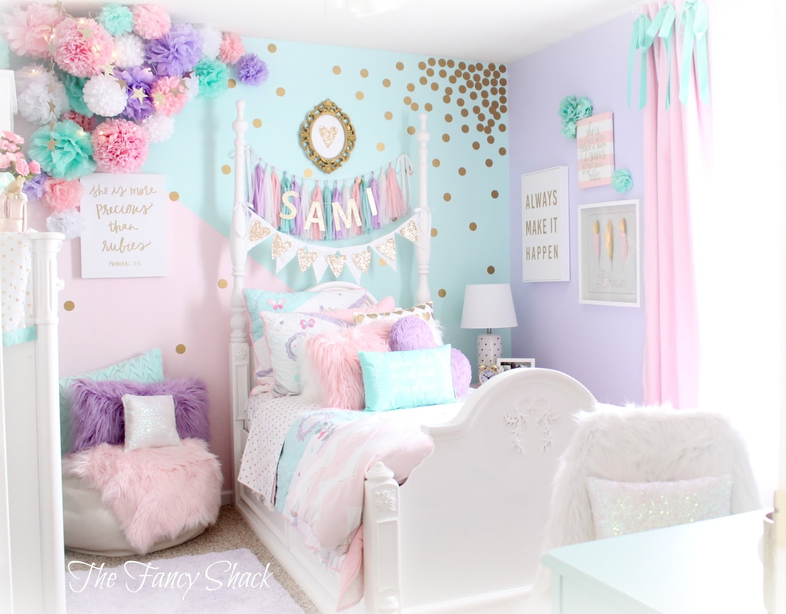 The fancy shack pastel girls room makeover for Pastel diy room decor
