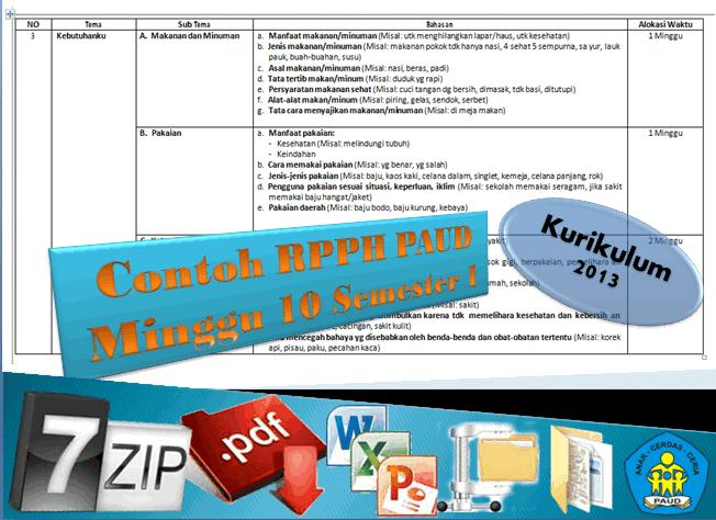 Download Berkas Contoh RPPH PAUD Minggu ke 10 Kurikulum 2013