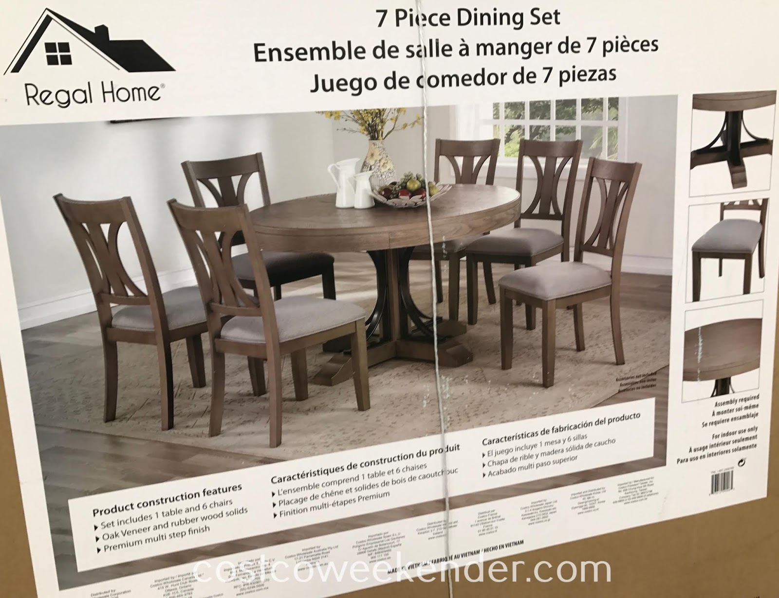 Costco 2000789 - Regal Home 7-piece Dining Set: elegant with a classic look