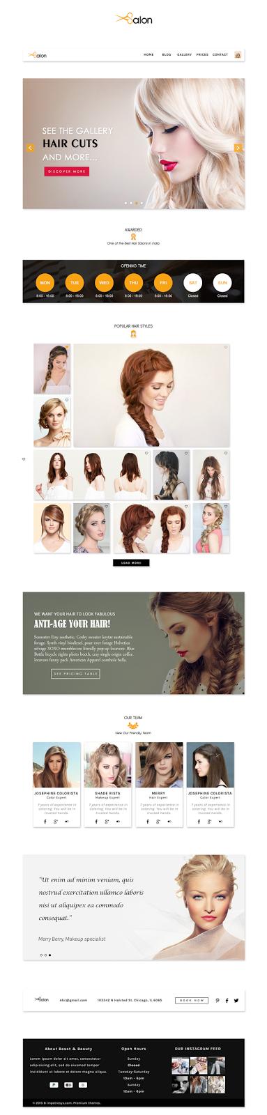 Beauty Salon Website Template Design Idea