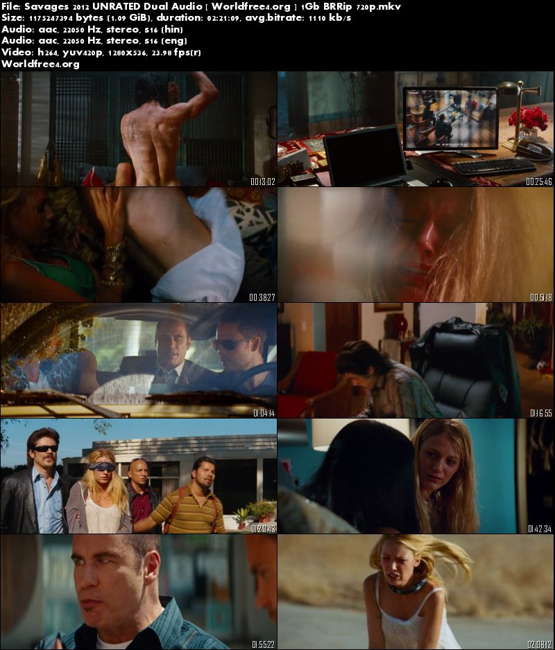 Savages 2012 BRRip 450MB Download UNRATED Dual Audio 480p