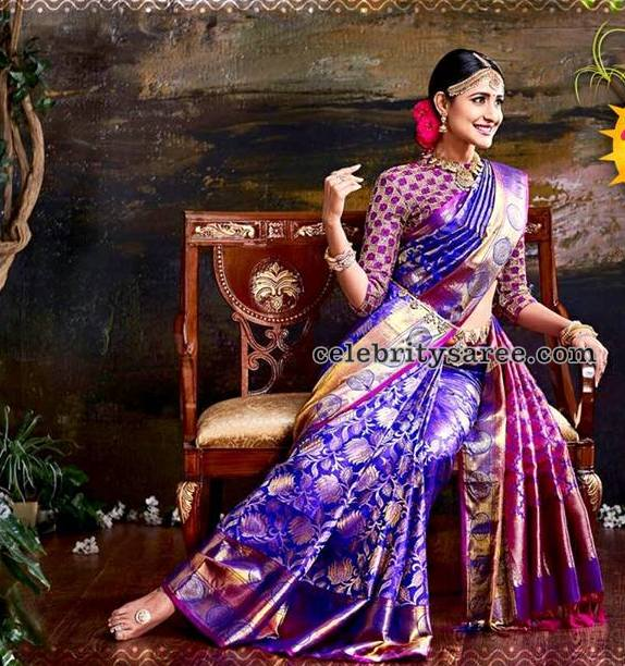 Pragya Jaiswal Purple Silk Saree