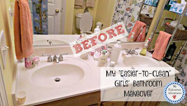 "My ""Easier-to-clean"" Girls' Bathroom Makeover. Not that earth-shattering but it's making me less grumpy to have to clean their bathroom. lol."