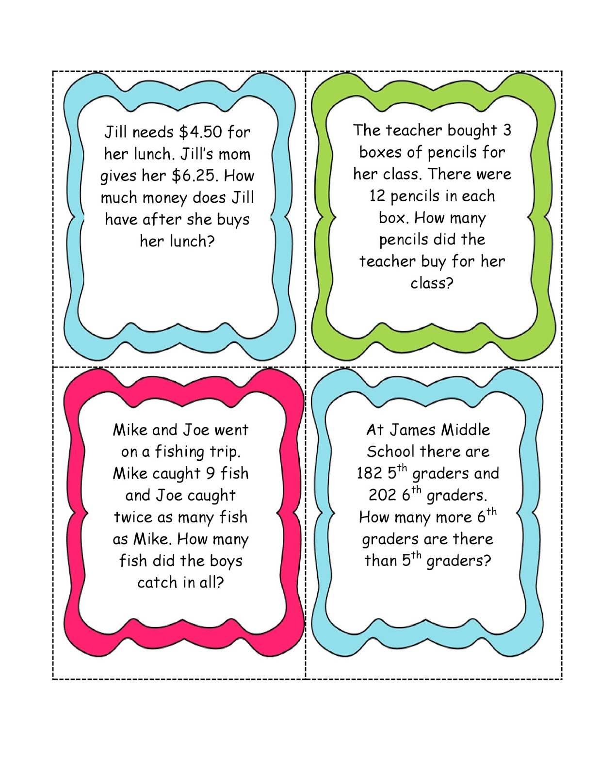 Math Word Problem Cards Hillary 39 S Teaching Adventures