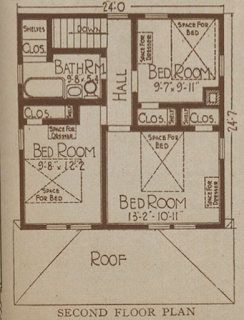 Sears Langston (post 1920) or Gladstone second floor plan