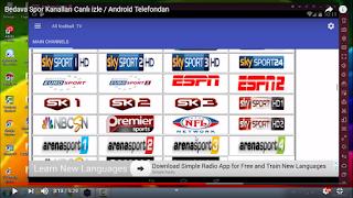 Bedava Spor Kanalları Canlı izle Telefondan - All Football TV