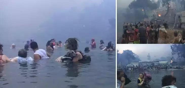 Συγκλονιστικά βίντεο και φωτογραφίες με ανθρώπους που βουτούσαν στη θάλασσα την ώρα της πυρκαγιάς