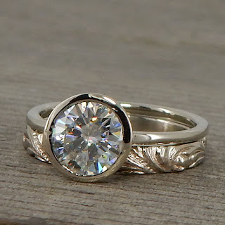stackable palladium moissanite engagement ring