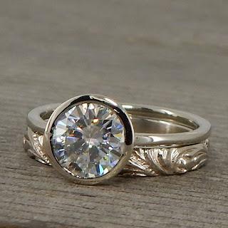 stackable palladium moissanite engagement ring