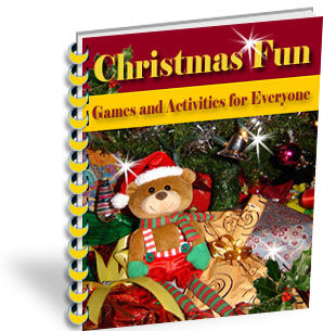image Christmas Fun: Games and Activities for Everyone ebook Cover featuring a Teddy Bear under a Christmas Tree
