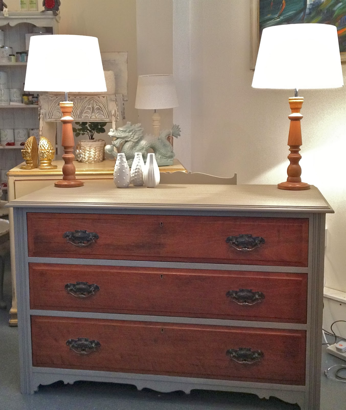 Chouchou Vintage Oak Chest Of Drawers Painted Grey With