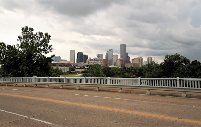 Jensen Drive at Buffalo Bayou with Downtown Skyline (May 2017 photo)