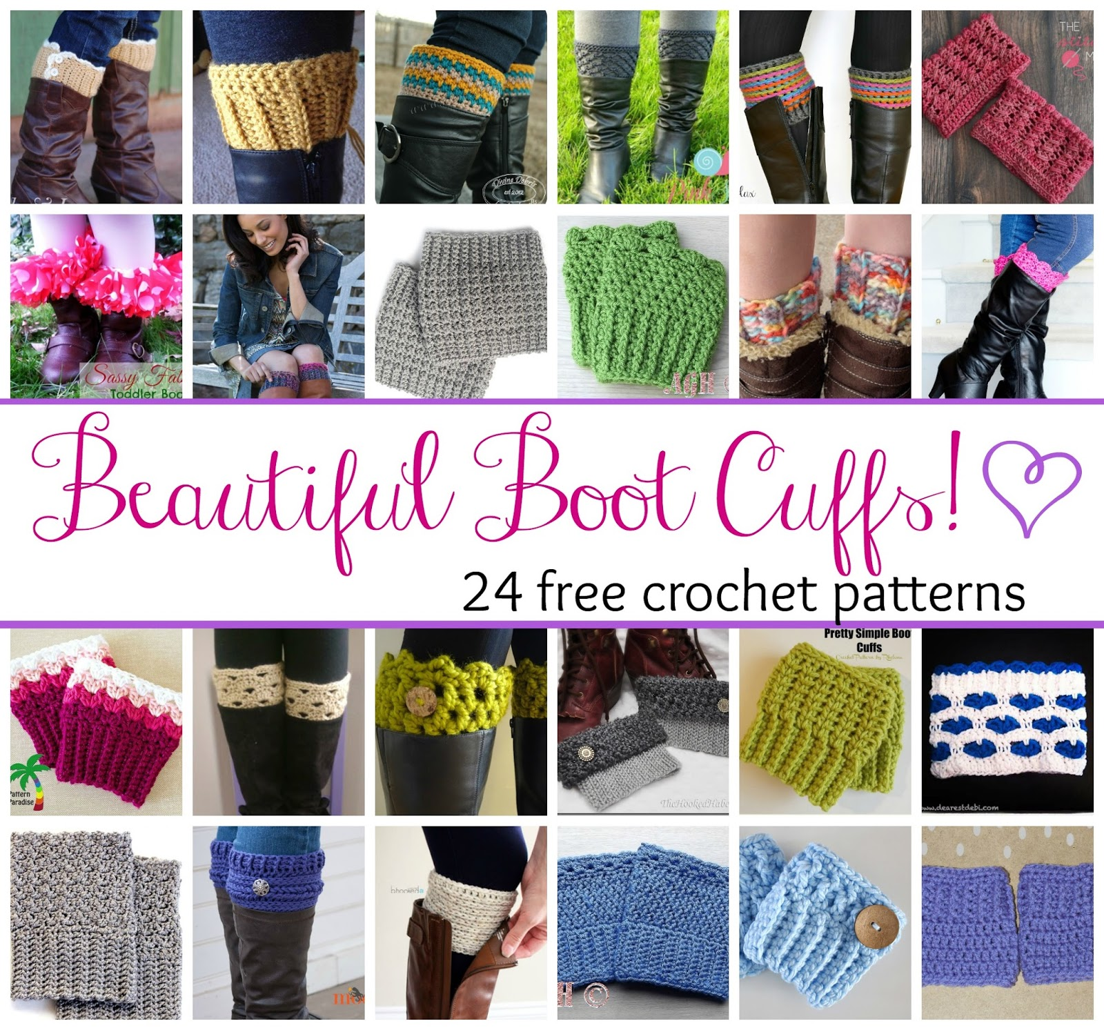 Fiber Flux Beautiful Boot Cuffs 24 Free Crochet Patterns