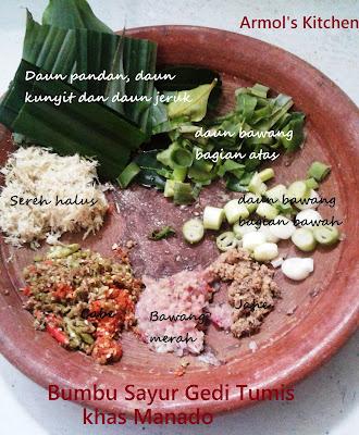 Bahan bahan membuat sayur gedi khas Manado