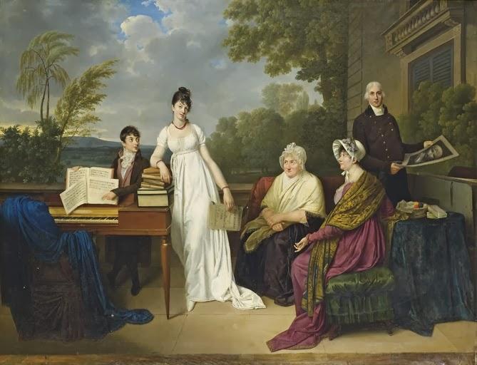 Portrait de la famille de l'artiste posant devant le château de Juilly (1804), Adèle Romany