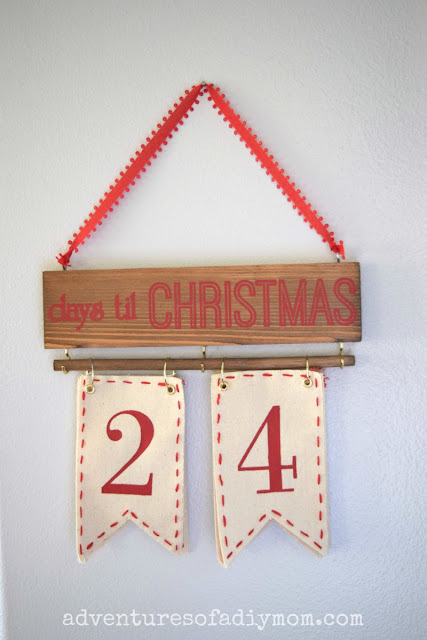 days til christmas wall hanging sign