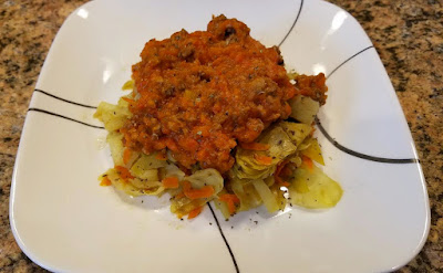 Mock Spaghetti: Cabbage with Roasted Red Pepper (Nomato) Meat Sauce