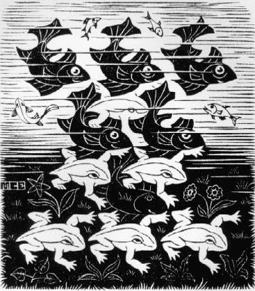Peixes e Rãs - Escher, M. C. e suas geniais litogravuras