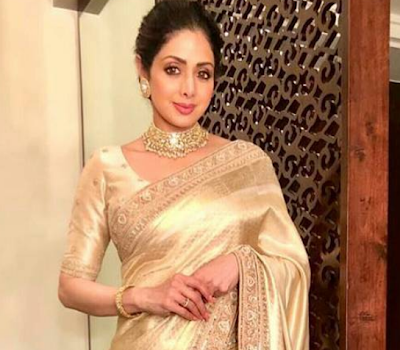 Sridevi chose a golden sari from the Sabyasachi collection