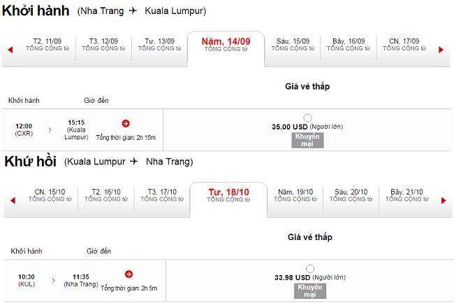 Vé máy bay Nha Trang đi Kuala Lumpur