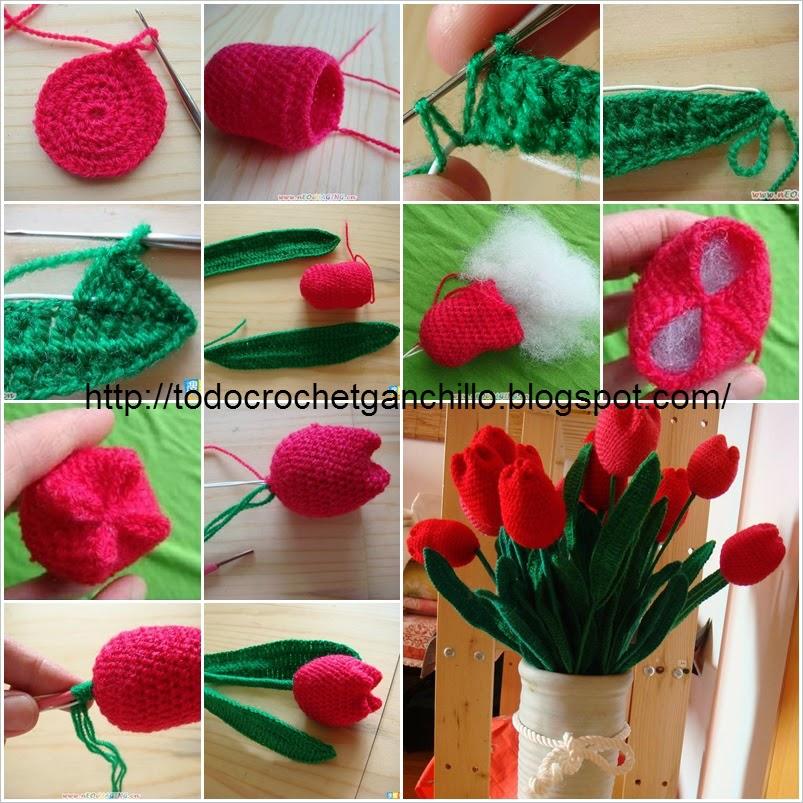 Tulipanes tejidos al crochet paso a paso todo crochet for Cosas de ganchillo faciles