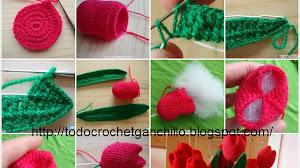 Tulipanes tejidos al crochet paso a paso