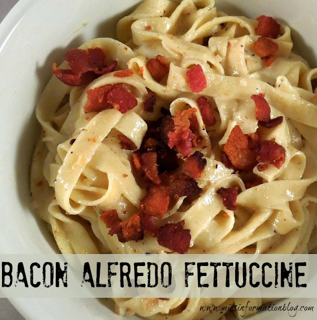 Bacon Fettuccine Alfredo, using homemade pasta YUMMMM