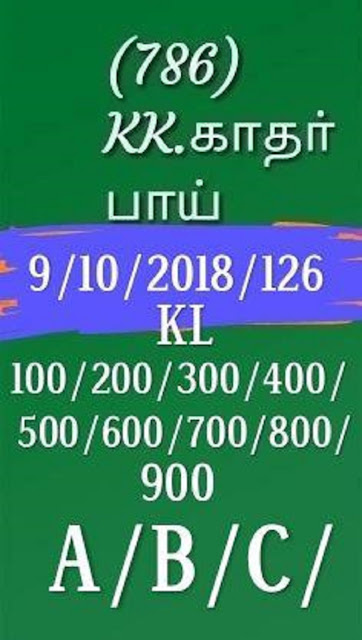 Kerala lottery abc guessing Sthree sakthi SS-126 on 09.10.2018 by KK