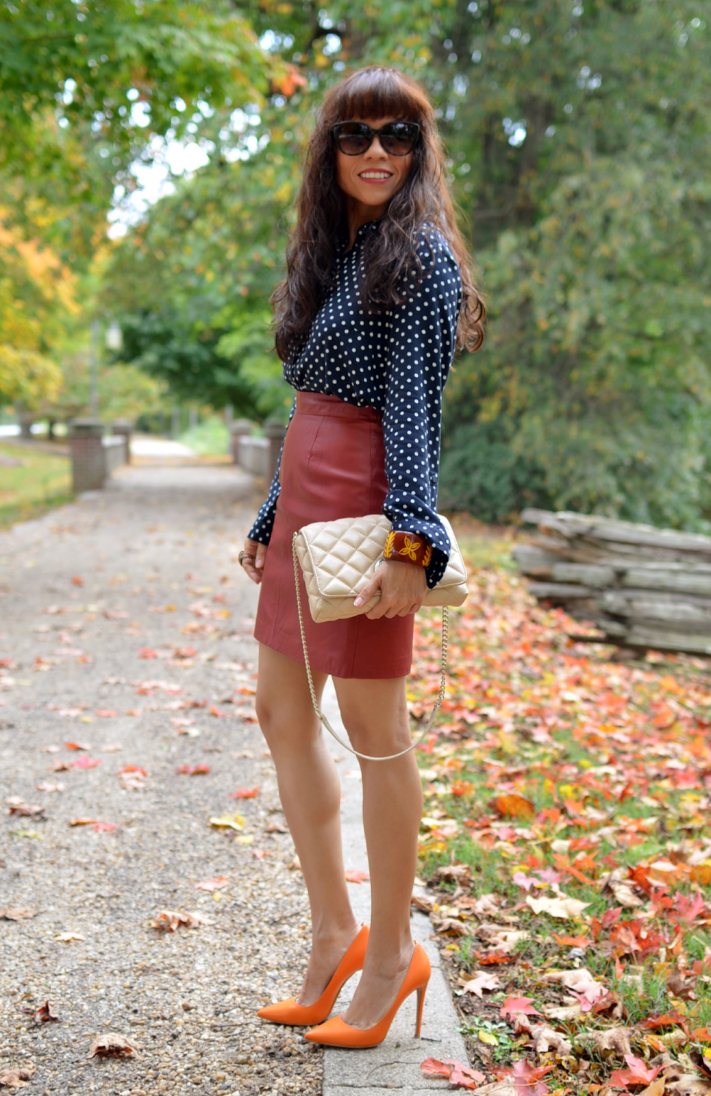 Red leather skirt street style