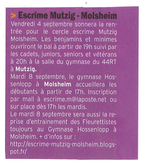 cercle escrime mutzig molsheim le courrier s 39 blattel du 04 septembre 2015. Black Bedroom Furniture Sets. Home Design Ideas