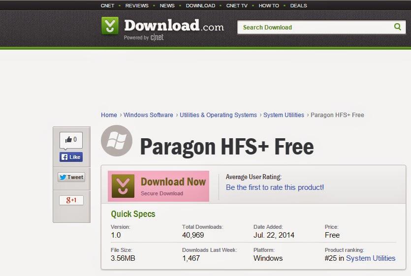 الحصول على برنامج Paragon لدعم ملفات الماك على الوندوز بالمجان