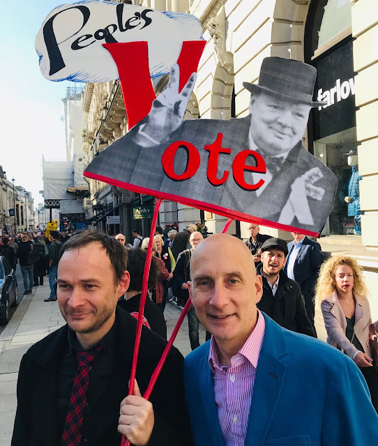 Image Attribute: Opposition Labour Party leader Lord Adonis (in navy blue blazer) at the march/ Date: October 20, 2018