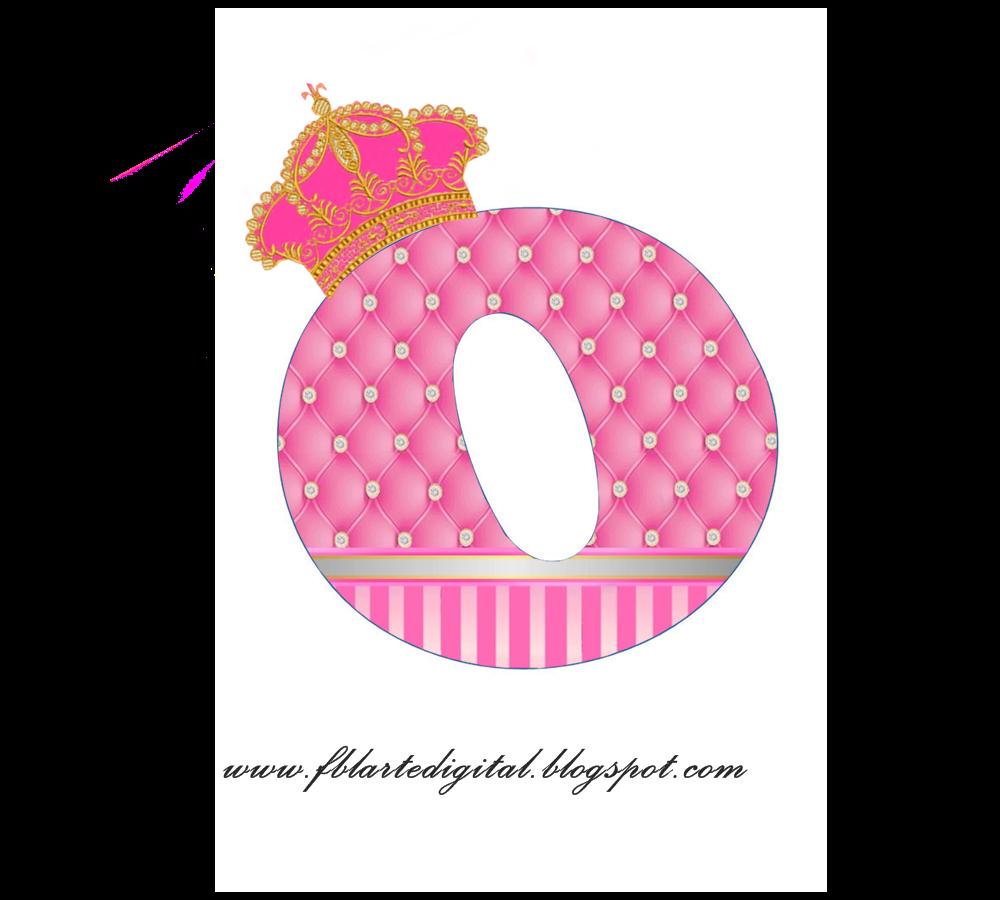 alfabeto con corona dorada y rosa
