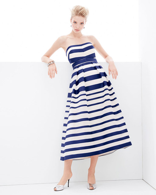 Платье в полоску с открытыми плечами силуэта new look для фигуры песочные часы