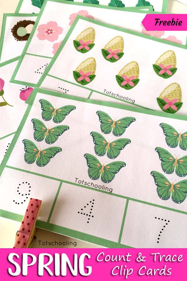 FREE printable Spring themed counting cards for preschoolers to count objects, find the correct number and clip it and trace that number. Great activity for fine motor skills, number recognition and one-to-one correspondence.