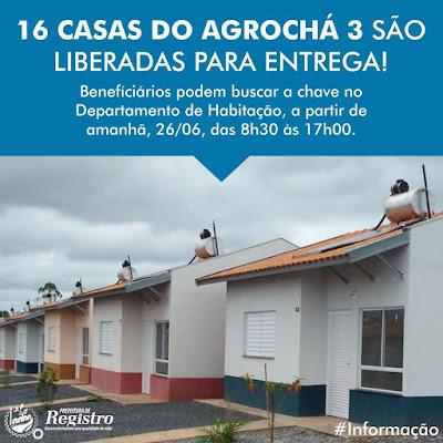16 casas do Conjunto Habitacional Agrochá 3 em Registro-SP são liberadas para entrega