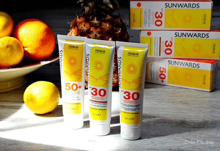 Sunwards Synchroline Delikatna emulsja SPF 50+, Krem koloryzujący SPF 30 i Krem do skóry tłustej SPF 30