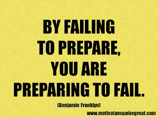 Success Inspirational Quotes: 48. By failing to prepare, you are preparing to fail. – Benjamin Franklyn