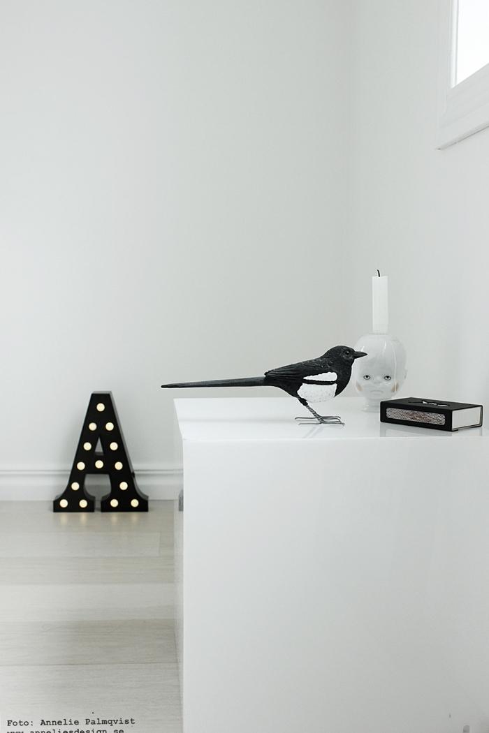 skata, bokstavslampa, bokstavslampor, metall, svart, svarta, skator, webbutik, webbutiker, webshop, inredning, nettbutikk, lampa, lampor, svart och vitt, svartvit, svartvita, annelies design, stilleben,