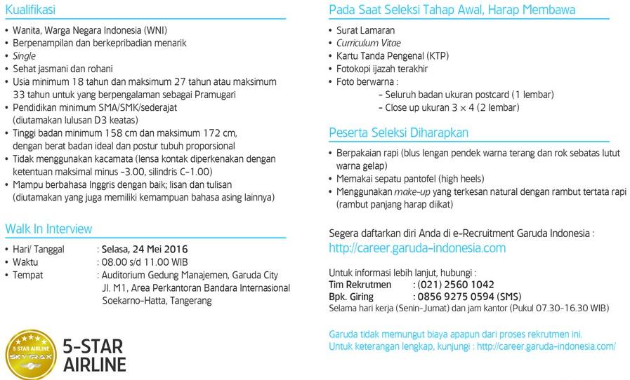 Penerimaan Pramugari Reguler PT Garuda Indonesia (Persero) Tbk
