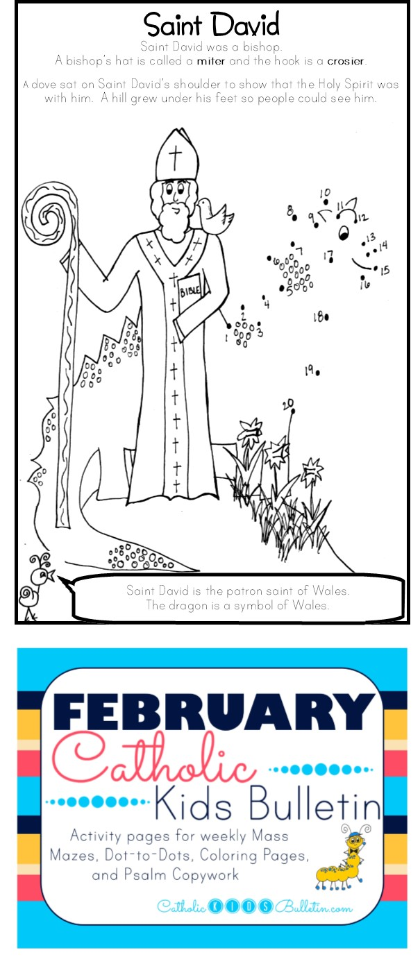 4 Saint David Catholic Kids Bulletin Coloring Page