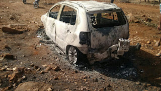 Carro é encontrado carbonizado com corpo dentro na zona rural de Pedra Lavrada