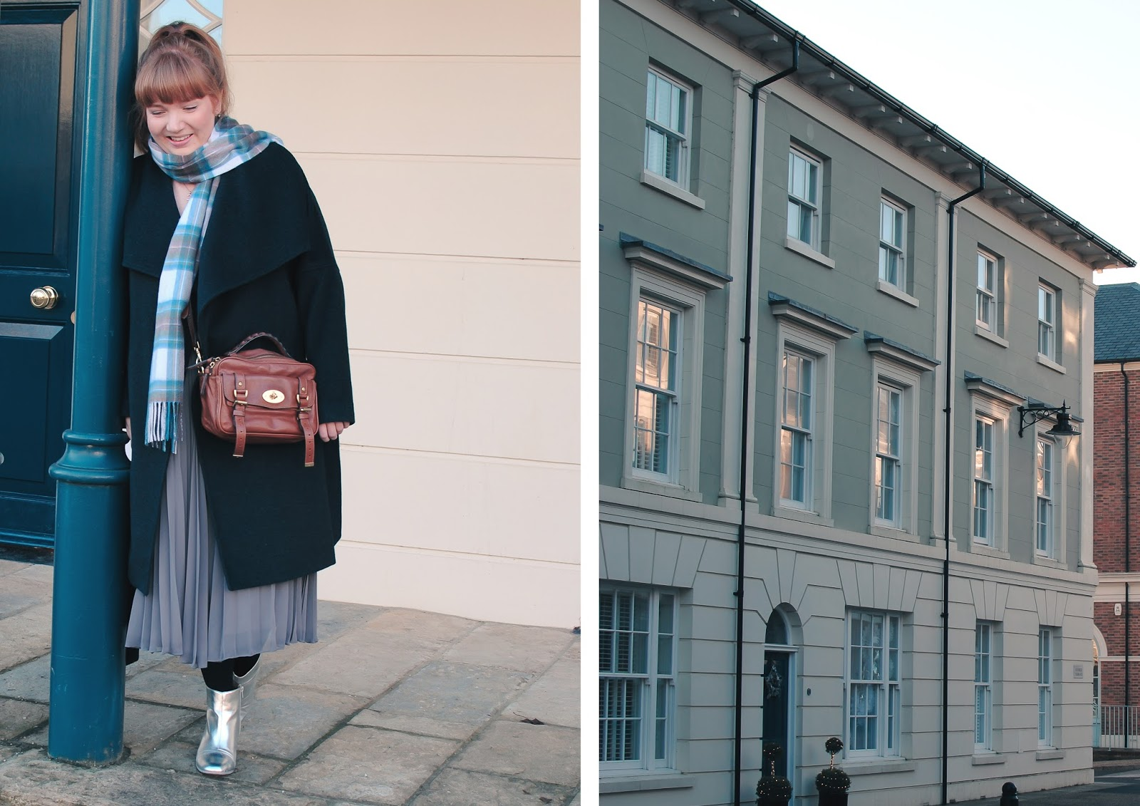Styling a midi pleated skirt in the Winter