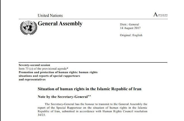 Secretary General of the U.N. Reports on the Situation of Human Rights in Iran