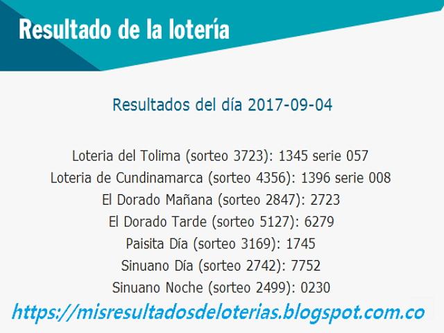 Como jugo la lotería anoche | Resultados diarios de la lotería y el chance | resultados del dia 04-09-2017